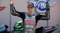 Pembalap Petronas Yamaha SRT, Franco Morbidelli, menjuarai balapan MotoGP Valencia di Sirkuit Ricardo Tormo, Minggu (15/11/2020). (AFP/Lluis Gene)