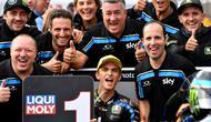 Pembalap tim Sky Racing Team VR46, Luca Marini, berhasil meraih podium juara di Moto2 Jepang yang berlangsung di Sirkuit Twin Ring Motegi, Minggu (20/10/2019) pagi WIB. (AFP/Toshifumi Kitamura)
