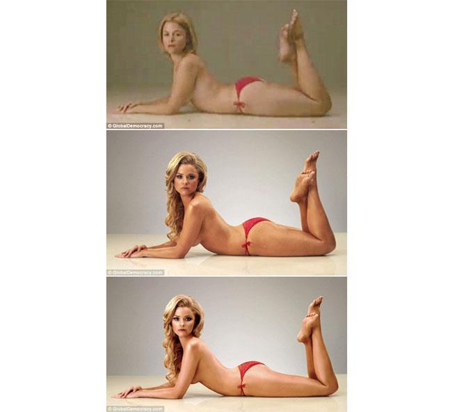 Foto sebelum di makeup (atas), foto setelah makeup (tengah), foto setelah edit Photoshop (bawah) | Foto: dailymail.co.uk