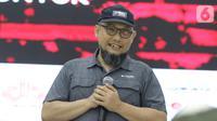 Penyidik senior KPK, Novel Baswedan saat menjadi pembicara pada Gathering Nasional Turuntangan di Jakarta, Sabtu (9/11/2019). Acara diisi dengan diskusi bertema Inspiring Talks Dedikasi Untuk Negeri. (Liputan6.com/Helmi Fithriansyah)
