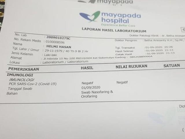 Ikut Test Swab Di Jakarta Helmi Hasan Dinyatakan Negatif Covid 19 Regional Liputan6 Com