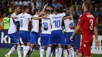 Timnas Italia menang 3-1 atas Armenia pada laga kelima Grup J kualifikasi Piala Eropa 2020, Kamis (5/9/2019). (AFP/Karen Minasyan)