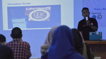 Tim Cek Fakta Liputan6.com saat menyambangi Kampus Unisan Gorontalo (Arfandi Ibrahim/Liputan6.com)