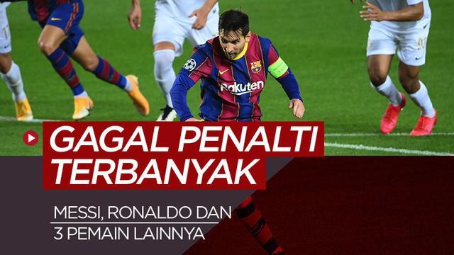 Berita motion grafis 5 pemain yang paling sering gagal dalam eksekusi penalti. Cristiano Ronaldo dan Lonel Messi terbanyak.