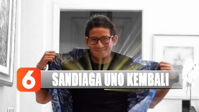Melalui akun media sosial, Sandiaga menunjukannya dengan memakai kaos bertuliskan Gerindra.