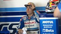 Pebalap asal Spanyol Maverick Vinales dari tim Suzuki saat balapan di Sirkuit Indianapolis, Indiana.(Getty Images/AFP)