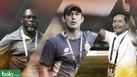 3 Pelatih di Shopee Liga 1: Alfredo Vera, Jacksen F. Tiago, Djadjang Nurdjaman. (Bola.com/Dody Iryawan)