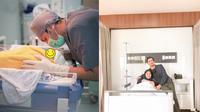 Momen Persalinan Anak Pertama Vebby Palwinta. (Sumber: Instagram/vebbypalwinta dan Instagram/alirazibawazier)