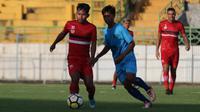 Winger Madura United, Andik Vermansah, saat menghadapi tim Porprov Sidoarjo di Stadion Gelora Bangkalan, Sabtu (20/4/2019) sore WIB. (Bola.com/Aditya Wany)