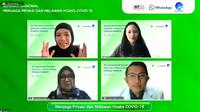 Peluncuran roadshow seminar literasi digital menghadirkan Moderator Devie Rahmawati, Manajer Kebijakan Publik WhatsApp Indonesia Esther Samboh, Dokter dan Relawan COVID-19 dr. M. Fajri Adda'i, Dir Tata Kelola Aptika Kemkominfo Mariam F. Barat (FOTO: Ist)