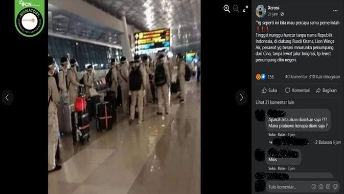 Gambar Tangkapan Layar Foto yang Diklaim Rombongan WN China Baru Mendarat di Bandara Soetta (sumber: Facebook)