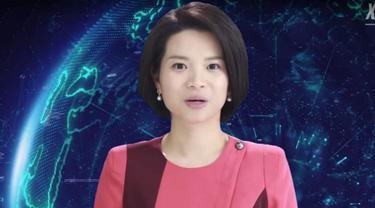 Xin Xiaomeng, robot pembaca berita pertama di dunia, tampil dalam salah satu program televisi Xinhua (Liputan6.com/Xinhua)