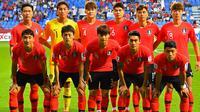 Timnas Korea Selatan jelang melawan Filipina di penyisihan Grup C Piala Asia 2019 (7/1/2019). (AFP/Giuseppe Cacace)