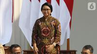 Menteri Luar Negeri Kabinet Kerja periode 2014-2019, Retno Marsudi saat diperkenalkan dalam pengumuman menteri Kabinet Indonesia Maju periode 2019-2024 di Istana Merdeka, Jakarta, Rabu (23/10/2019). Retno Marsudi kembali dipercaya Presiden Jokowi menjabat sebagai Menlu (Liputan6.com/Angga Yuniar)