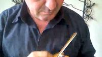 Seorang pemain biola asal Venezuela unjuk kebolehan memainkan biola yang memiliki ukuran terkecil sedunia.
