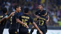 Timnas Thailand U-22 merayakan gol bunuh diri Malaysia di final SEA Games 2017. (Bola.com/Dok. FA Thailand)