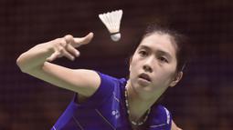 2. Aya Ohori - Pebulutangkis yang memiliki postur tubuh bak model papan atas. Masih berusia 21 tahun, Aya masih berjuang keluar dari bayang-bayang tunggal putri Jepang lainnya, Nozomi dan Akane dalam meraih prestasi. (AFP/Kazuhiro Nogi)
