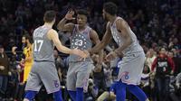 Aksi Jimmy Butler (23) bersama Sixers saat melawan Jazz di lanjutan NBA (AP)