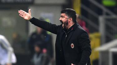Gennaro Gattuso dipastikan akan terus jadi pelatih AC Milan hingga 2021. (MIGUEL MEDINA / AFP)