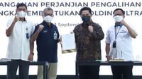 Penandatanganan Perjanjian Pengalihan Saham Dalam Rangka Pembentukan Holding Ultra Mikro, Jakarta, 13 September 2021.