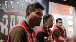 Perwakilan Super Soccer, Riko Setiawan, memberi keterangan saat jumpa pers di Senayan, Sabtu (11/8/2018). Super Soccer Futsal Battle 2018 akan digelar mulai tanggal 18 Agustus 2018. (Bola.com/M Iqbal Ichsan)