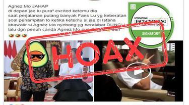 Beredar kabar Agnes Mo acungkan dua jari setelah bertemu Joko Widodo.