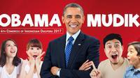 Presiden ke-44 Amerika Serikat Barack Obama hadir dalam Kongres Diaspora Indonesia yang ke-4 (Liputan6.com/Abdillah)