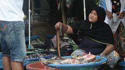 Seorang wanita muslim menjual belut di pinggir jalan di Narathiwat, provinsi selatan Thailand (19/12). Kebanyakan di daerah Narathiwat mereka beretnis Melayu. (AFP Photo/Lillian Suwanrumpha)