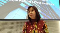 Direktur Keuangan Bank Permata Lea Kusumawijaya usai melakukan konferensi pers di World Trade Center 3, Jakarta Selatan, Rabu (19/2/2020). (Anisyah Al Faqir/Merdeka.com)