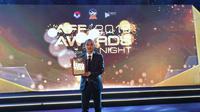 Pemain Timnas Indonesia dan Persija Jakarta, Riko Simanjuntak, saat hadir dalam malam AFF Awards 2019 di Hanoi, Vietnam, Jumat (8/11/2019). Riko masuk dalam AFF Best XI in the AFF Suzuki Cup 2018. (Dok. Persija)