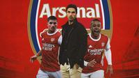 Arsenal - Houssem Aouar, Mikel Arteta, Memphis Depay (Bola.com/Adreanus Titus)
