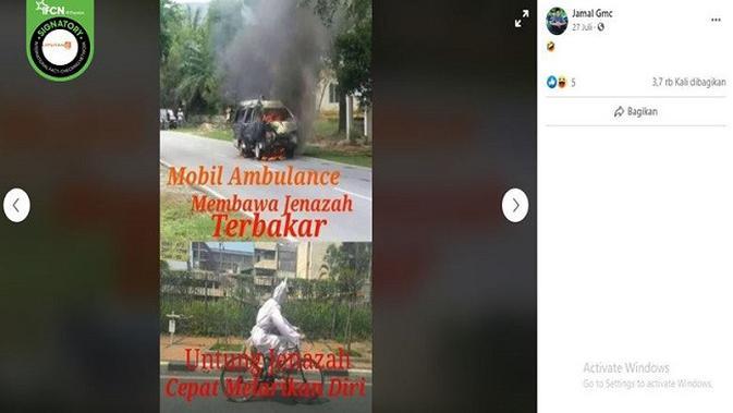 Gambar Tangkapan Layar Foto Ambulance Terbakar