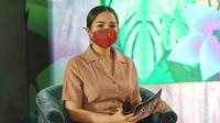 Nagita Slavina Prescon animasi Lorong Waktu Si Aa di kawasan Dharmawangsa, Jakarta Selatan, Selasa (15/12/2020). (Adrian Putra/Fimela.com)