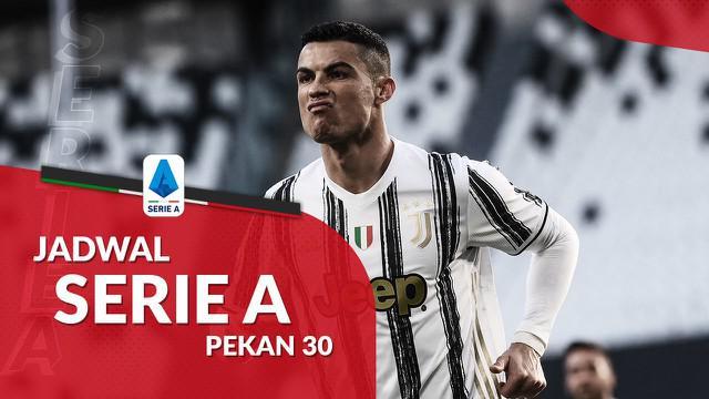 Berita motion grafis jadwal Liga Italia 2020/2021 pekan ke-30. Juventus ditantang Genoa di Allianz Stadium, Turin.