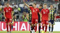 Striker Bayern Munchen Thomas Muller mencetak hattrick ke gawang Fenerbahce pada semifinal Audi Cup 2019 di Allianz Arena, Rabu (31/7/2019) dini hari WIB. (AP Photo/Matthias Schrader)