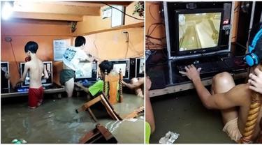 Viral Bocah Tetap Main Game di Warnet saat Diterjang Banjir dan Badai, Santai Banget