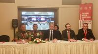 Situasi konferensi pers yang dihadiri oleh pihak ICRC, TNI, dan perwakilan dari Sekretaris Jenderal PBB untuk Operasi Perdamaian (Siti Khotimah/Liputan6.com)