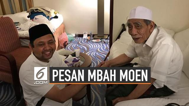 Kiai sepuh Nahdlatul Ulama (NU) KH Maimun Zubair atau Mbak Moen meninggal dunia di Makkah pada Selasa (6/8/2019) saat menunaikan ibadah haji. Mbah Moen dikenal sebagai orang alim, ahli fikih dan penggerak organisasi keagamaan maupun politik.
