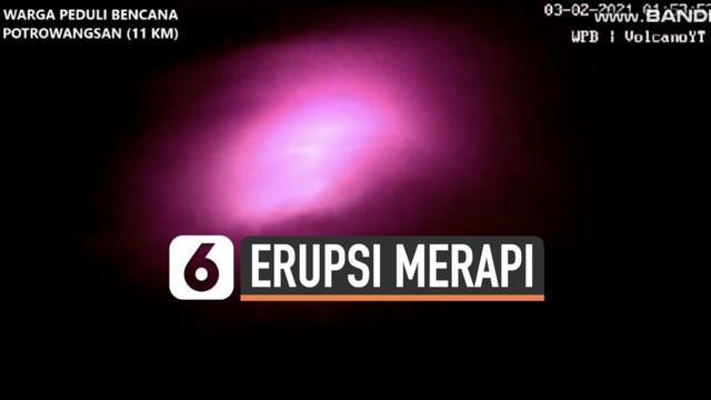 Rabu (3/2) dini hari kamera pemantau rekam aktivitas vulkanik Gunung Merapi. Sejumlah luncuran lava pijar tampak sejauh ratusan meter.