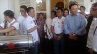 Ahok menyambut ekspedisi kapsul waktu di Jakarta (Putu Merta Surya Putra/Liputan6.com)