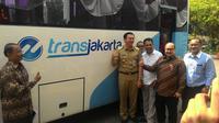 Penampakan Kopaja usah bergabung Transjakarta. (Liputan6.com/Ahmad Romadoni)