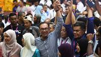 Anwar Ibrahim (tengah) merayakan kemenangannya dalam pemilu sela di Port Dickson, Negeri Sambilan. Ia kini menjadi Anggota Parlemen Malaysia terpilih untuk mewakili wilayah konstituensi Port Dickson (AFP PHOTO)