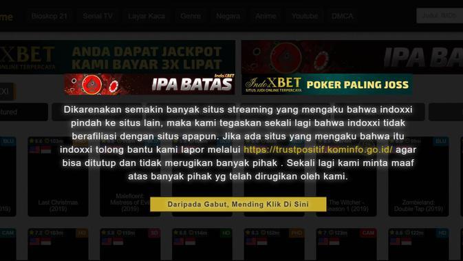 Tampilan laman utama IndoXXI saat ini. (Liputan6.com/ Yuslianson)