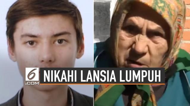 Pemuda 24 tahun rela menikahi nenek usia 81 tahun yang sedang lumpuh. Bernama Alexander Kondratyuk menikahi lansia bernama Zinaida Illarionovna.