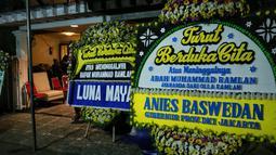 """(Olla Ramlan) Terpukul, nggak berenti nangis. Pasti sedih, terpukul,"" ucap Jelita Ramlan di Rumah Sakit Pondok Indah, Jakarta Selatan, Senin (4/6/2018). (Adrian Putra/Bintang.com)"