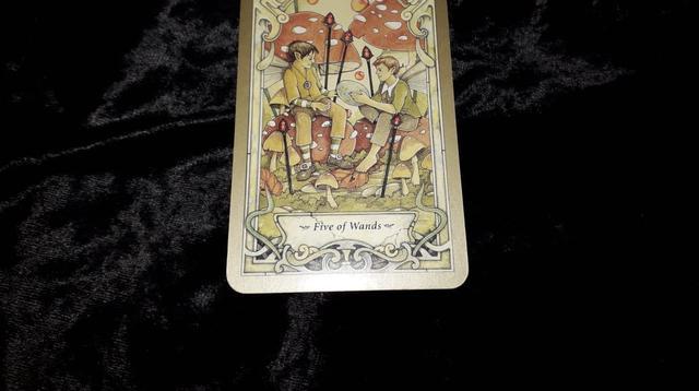 Five of Wands, kartu yang terbuka dalam Tarot Hari Ini Jumat, 21 September 2018. (Foto: Elisabet Kusumodewi)