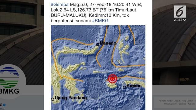 Gempa berkekuatan 5,0 skala Richter (SR) menggetarkan Buru, Maluku. BMKG mengatakan, lokasi gempa terjadi di 2.64 Lintang Selatan, 126.73 Bujur Timur atau 76 km Timur Laut Buru, Maluku.