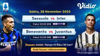 Pertandingan lengkap Liga Italia pekan kesembilan dapat disaksikan melalui platform streaming Vidio. (Sumber: Vidio)
