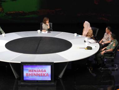 Suasana diskusi dalam acara yang dipandu oleh Najwa Shihab di Jakarta, Rabu (2/11).  Diskusi tersebut bertemakan 'Menjaga Bhinneka'. (Liputan6.com/Faizal Fanani)
