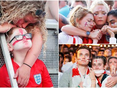 Berikut ini wajah kecewa para fans Inggris usai timnas kebanggannya gagal melaju ke final Piala Dunia 2018 setalah disingkirkan Kroasia. (Foto-foto Kolase AP)